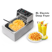 ITOP Stainless Steel 8L/16L Electric Deep Fryer, French Fries Chicken Meat Oil Fryer Commercial Frying Machine 110V 220V