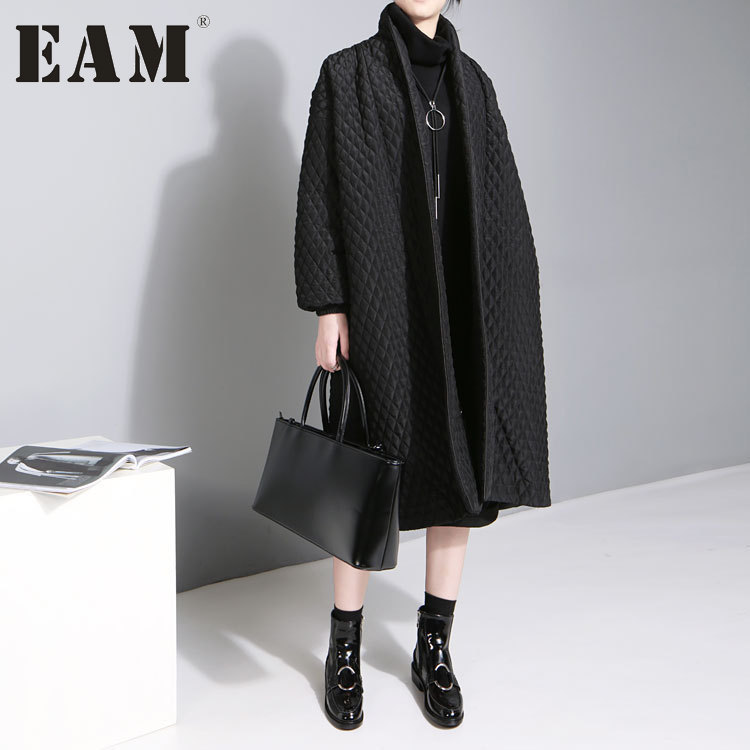 [EAM] Новинка 2017 года Большие размеры темперамент сплошной Цвет с длинными рукавами длинный абзац хлопковая куртка Женский wth