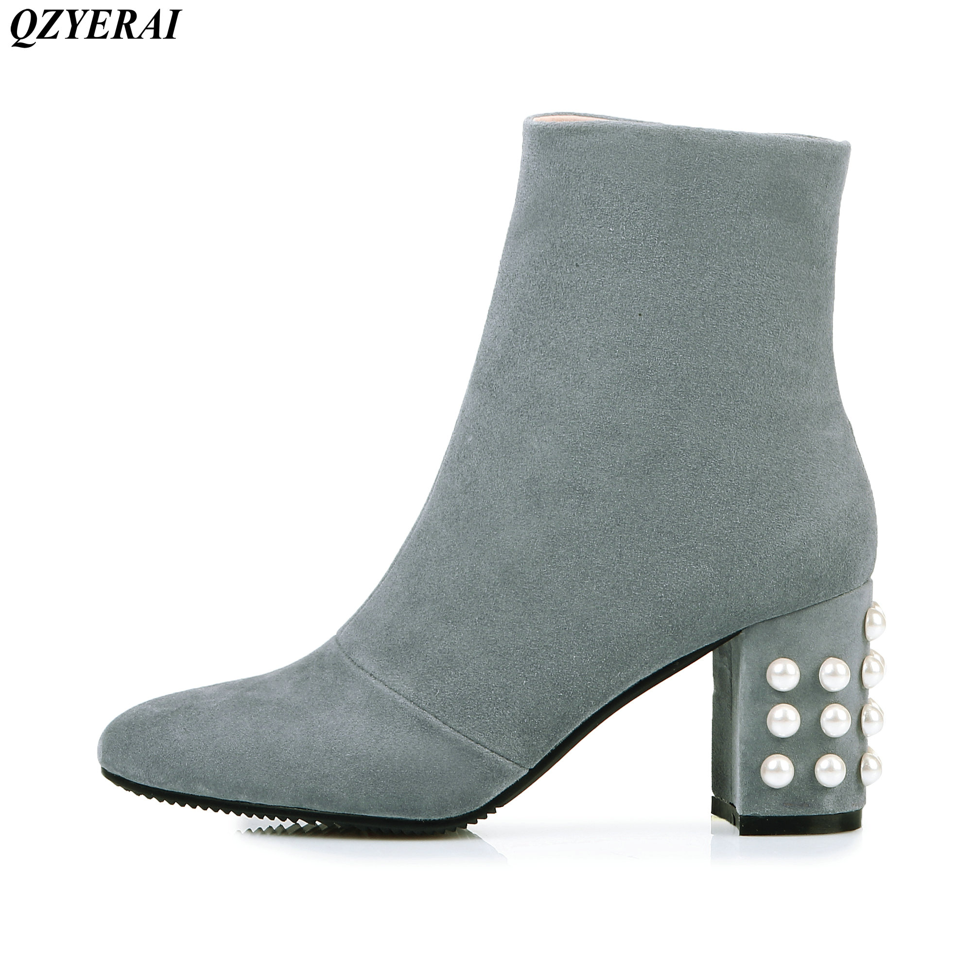 2018 Bottes Court Martin 34 43 Chunky Taille Noir Talons Mode Chaussures Nouvelle Talon Perle gris Sexy pYrpFw