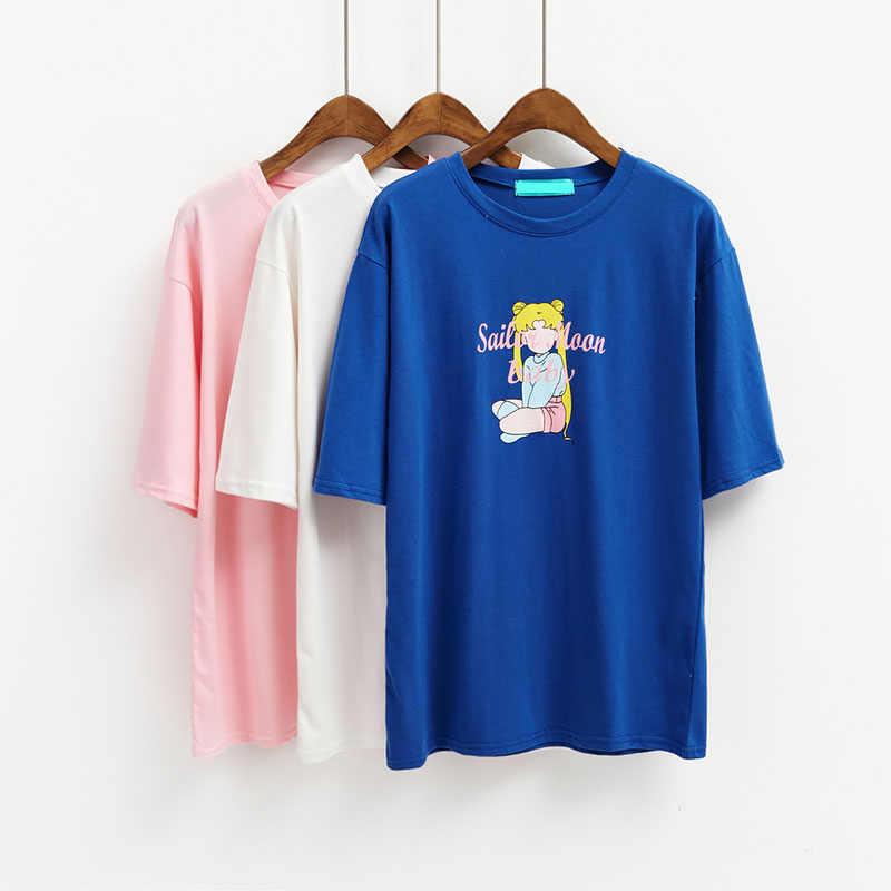 5314d7e969 women t-shirt korea summer Cartoon printed loose short sleeved tshirts soft  sister cute tee shirts women's casual tops