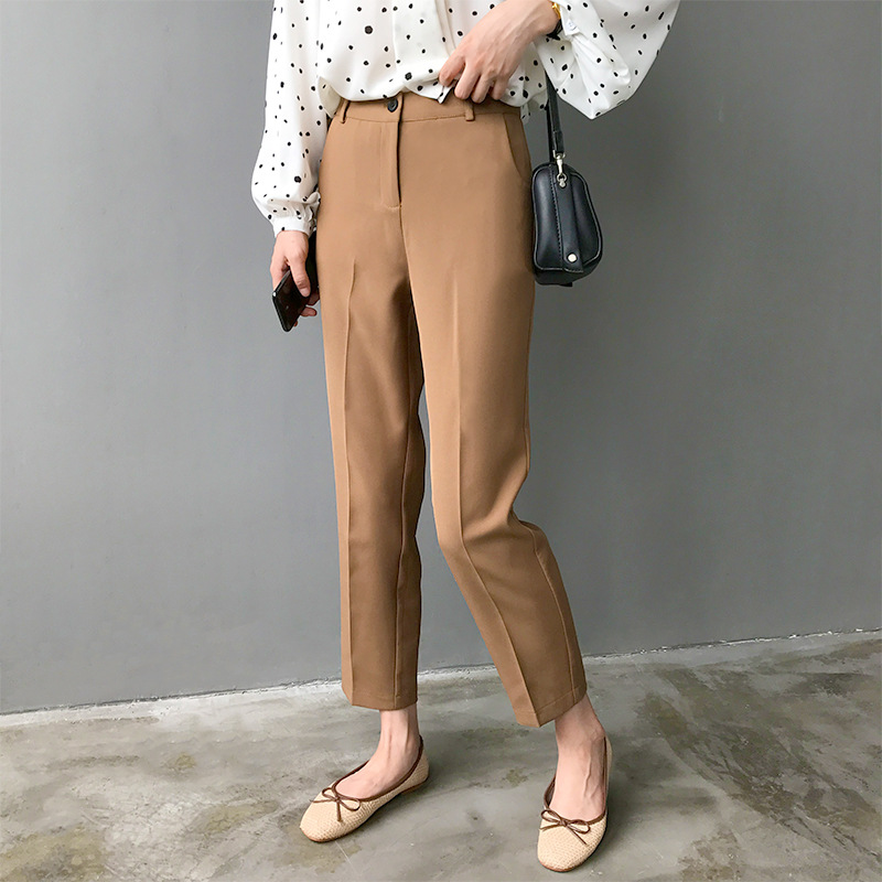 New 2019 spring autumn women fashion solid color casual trousers   pants     capris   female