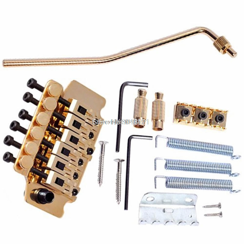 1Set Metal Gold Tremolo System Guitar Parts & Accessories Double Lockaing Floyd Rose Guitar Tremolo Bridges Drop ship 1set metal gold tremolo system guitar parts