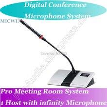 High-end MICWL Digital Wireless Microphone Conference Meeting Room System Host + President + Delegates Desk Unit Gooseneck Mic micwl d400 uhf 4 gooseneck table uhf wireless conference microphones digital system for big meeting room