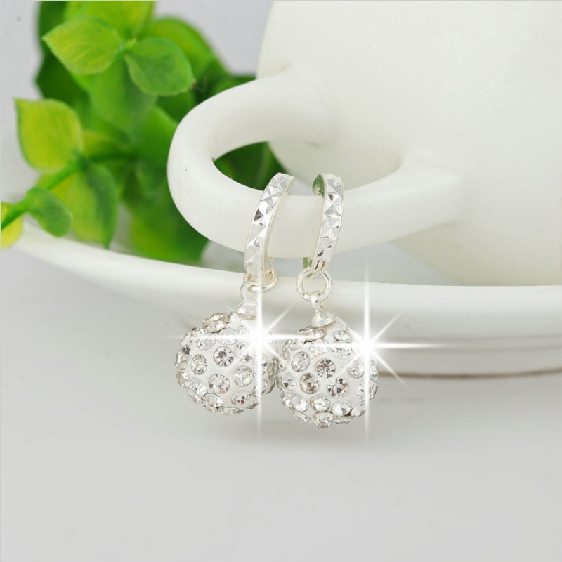 Silver Color Circular Drop Earrings female Models Shamballa Fashion Jewelry Lovely Wild Super Flash Retro Crystal Jewelry