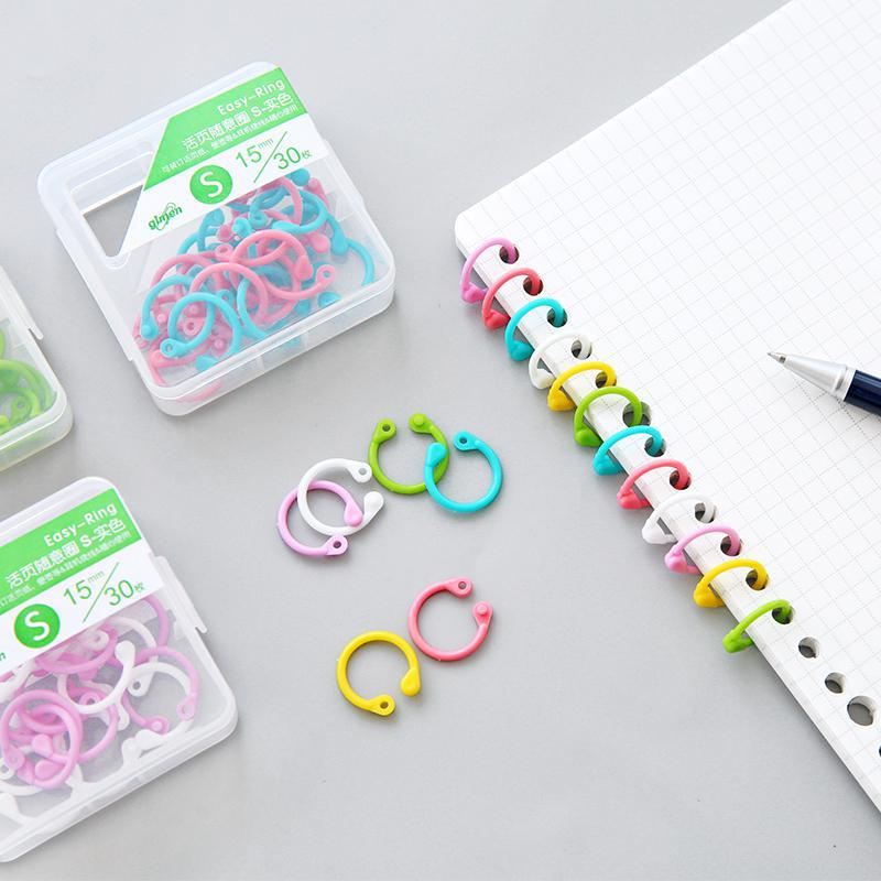 Color Plastic Multi-function Open Ring Loose-leaf Card Ring Paper Clips Kawaii Stationery
