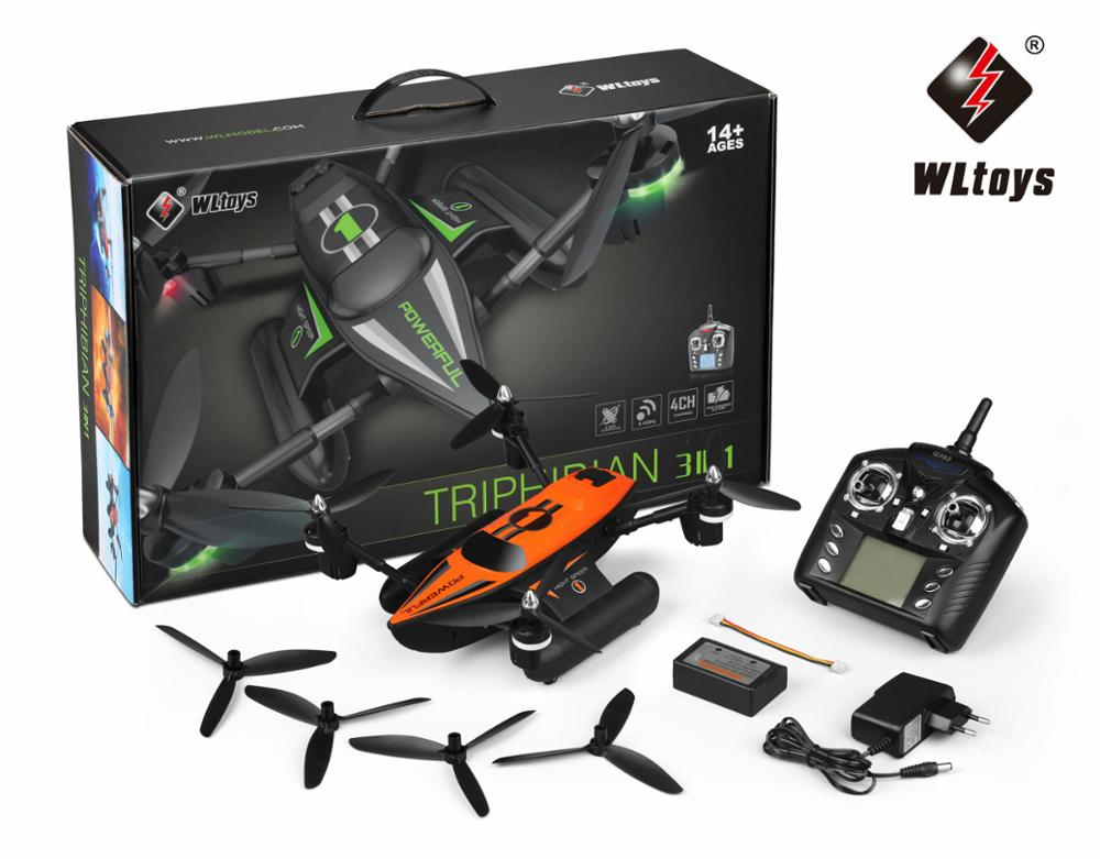 RC Quadcopter RTF Waterproof Wltoys Altitude-Hold Mode Q353 3-In-1 with Air-Land Headless title=