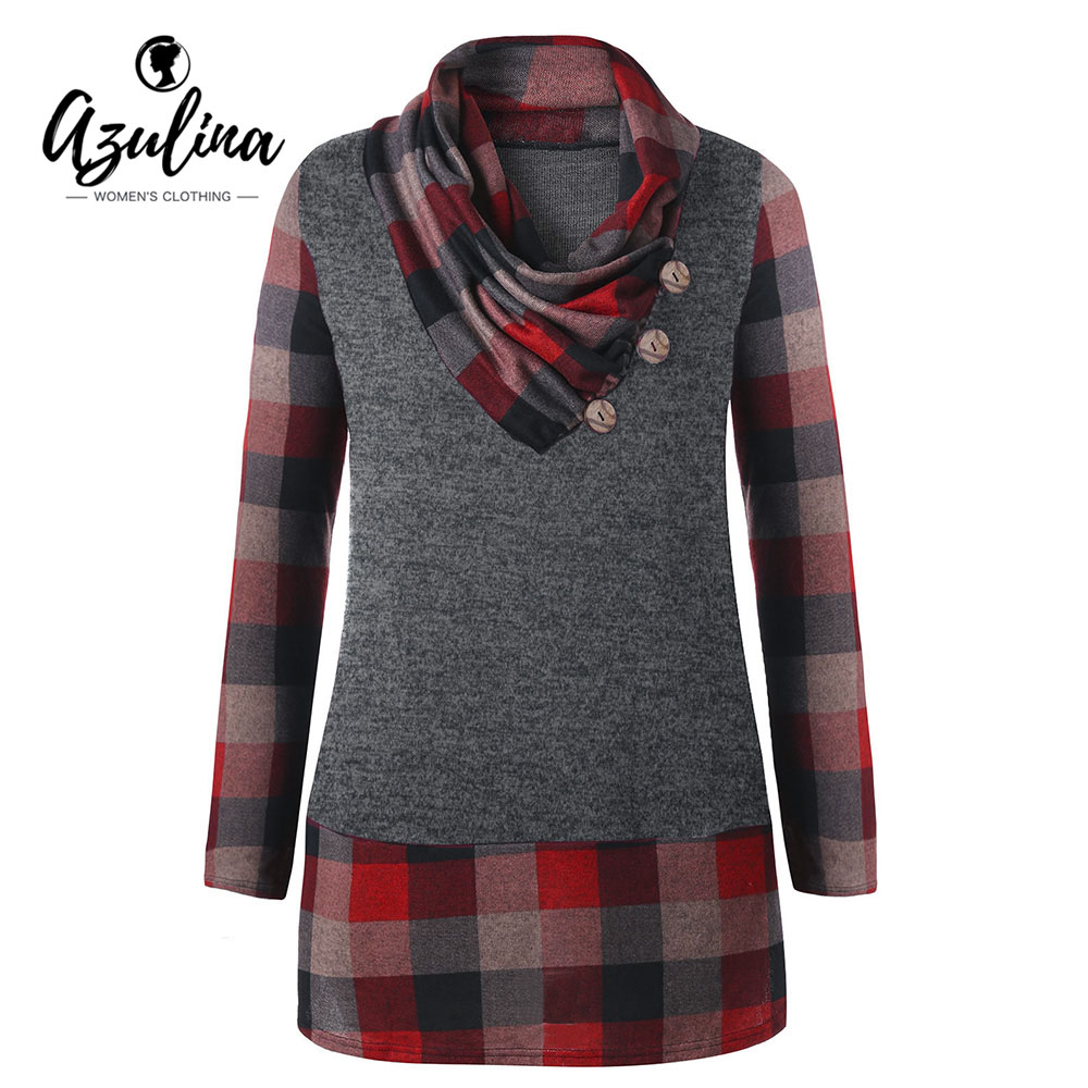 AZULINA Plus Size T Shirt Women Heap Collar Long Sleeve Plaid Buttons Tunic Ladies Tops New Fashions Spring Casual T-Shirt 5XL цены