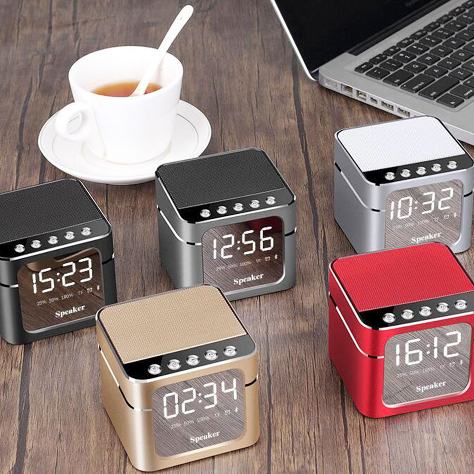 New Mini Wireless Bluetooth Speaker Portable LED Mirror Display Smart Alarm Clock Subwoofer With Stereo Radio Handsfree Speaker