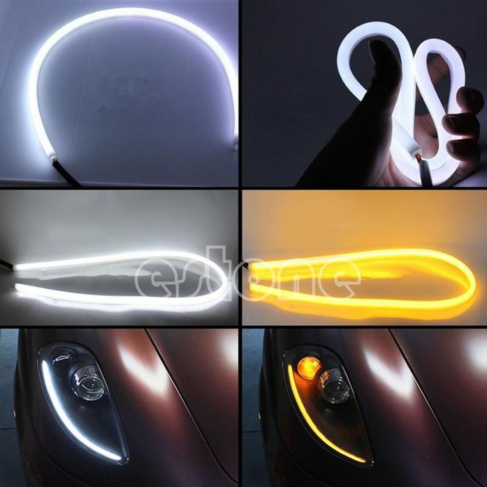 2x 60cm White+Amber Flexible Headlight Head lamp Switchback Strip Tube Style Angel Eye DRL Decorative Light Switch back car styling 2x white blue red yellow green flexible tube style headlight headlamp strip angel eye drl decorative light parking