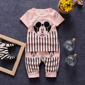 Cute Mouse Children Summer Clothing Sets Shortsleeve Tshirt+Striped Trousers Toddler Boys Girls Fashion Cartoon Sports Clothes