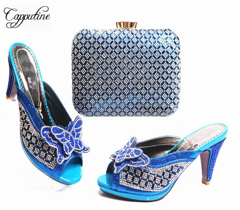 Capputine Summer Italian Rhinestone Woman Shoes And Bag Set Fashion Africa Spike Heels Shoes And Matching  Bag Set For Party G22 capputine summer style africa low heels woman shoes and bag fashion slipper shoes and purse set for party size 38 42 tx 8210
