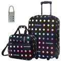 "DAVIDJONES 20"" Carry-on luggage & 13'' make-up case 2 PCS Luggage Set Trolley  Women & Men Travel Bags Suitcase With Wheel"