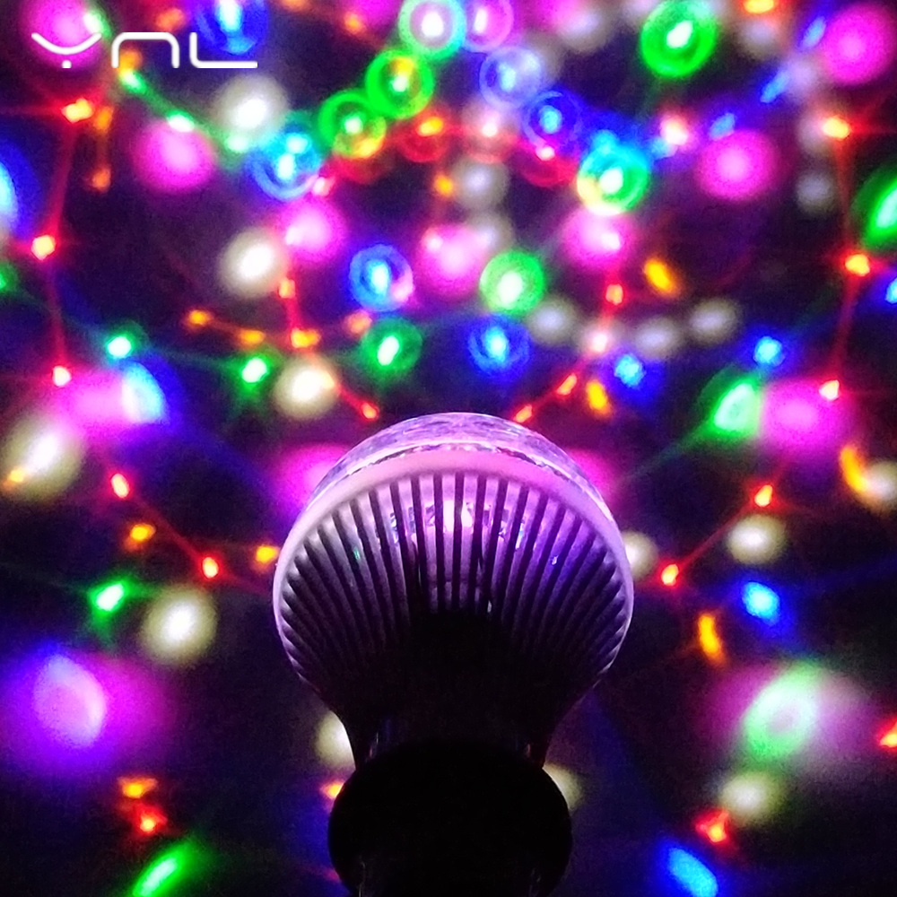 YNL LED Lamp Crystal Stage Light RGB 6W E27 Colorful Magic crystal Ball DJ Disco Party KTV Home effect Bulb Auto Rotating Lamp 6w e27 led stage light rgb lamp with voice activated mp3 projector crystal magic ball rotating disco dj party stage lighting