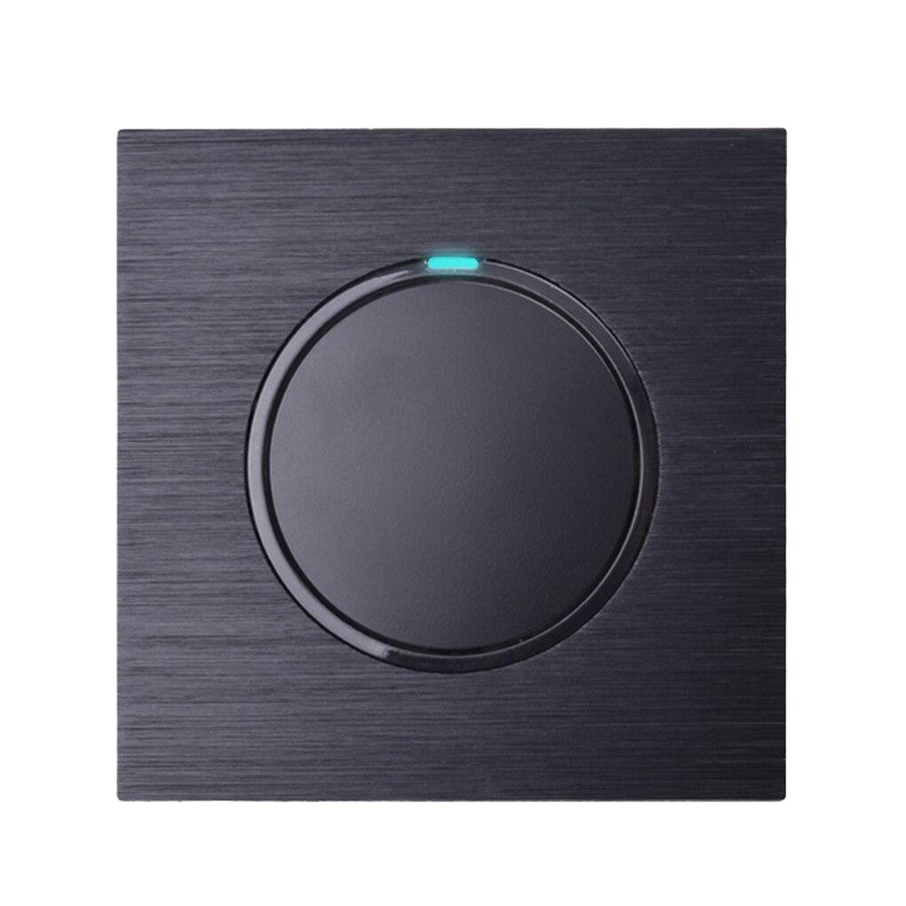 100% Kwaliteit Thuis 1 Gang 1 Manier Willekeurige Klik Op/off Muur Lichtschakelaar Led Indicator Black Aluminium Metal Panel Eu Plug