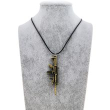 Fashion New CS GO Leather Chain Gun Pendant Necklace For Men Counter Strike Vintage Gold Guns Choker Necklace Male Jewelry Gift(China)