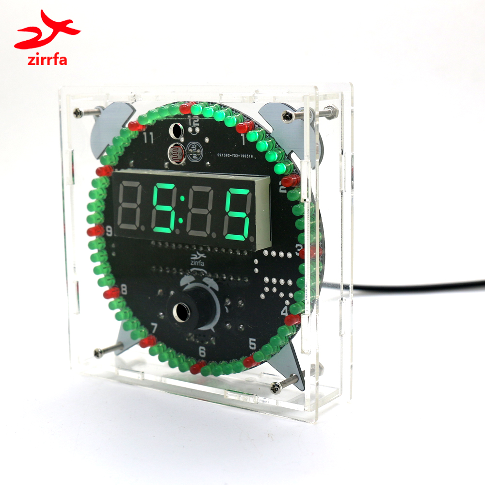 Zirrfa Rotating DS3231 Digital LED Display Module Alarm Electronic Digital Clock Temperature DIY Kit Learning Board 5V New