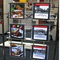 (Embalagem/10 unidades) A3 Ultra Slim Dupla Face Cabo de Fio Pendurado Kits de Exibição Da Janela, Cristal Levou Caixas de luz