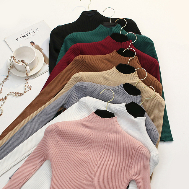 2018 Women Sweaters and Pullovers Turtleneck Cashmere Sweater Ribbed Black  Winter knitted Sweater Women Jumper Casual Elastic e293d3a6dea4