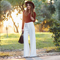 2016 de Moda de verano Rectos ocasionales más el tamaño de la gasa de pierna ancha de cintura alta de las mujeres femeninas niñas pantalones blancos sueltos pantalones ropa