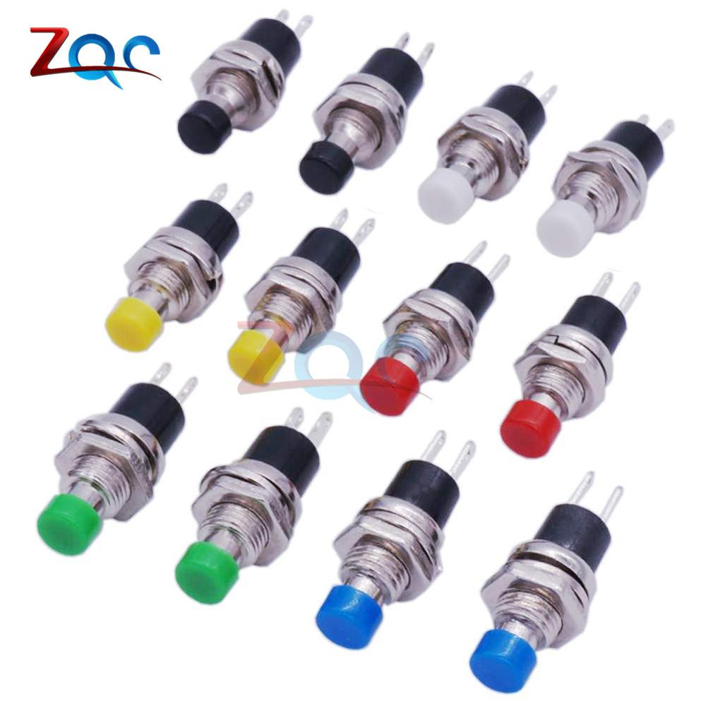 10PCS PBS-110 Push Button Mini ON//OFF Black Lockless Momentary Switch