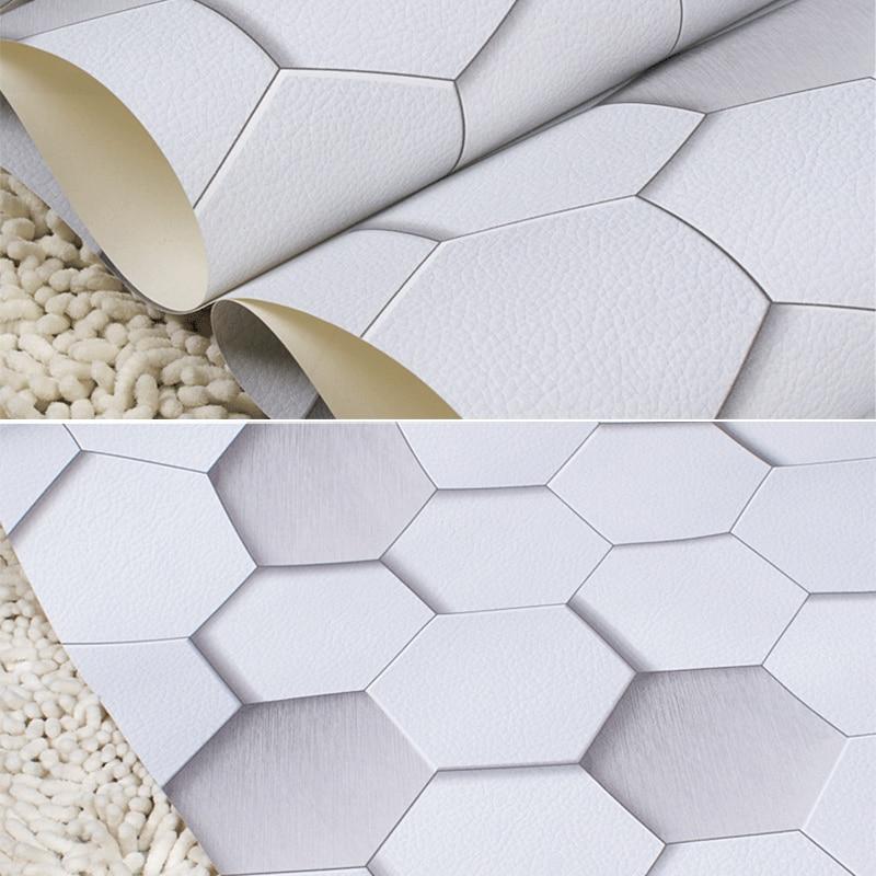 Купить с кэшбэком 3D Modern Geometric Wall Paper Roll for Walls  Vinyl Waterproof 3D Grid Wallpapers PVC Hexagon Background Wallpaper Grey Yellow