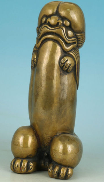 Nice Asian Chinese Old Bronze Carved Penis God Collect Statue Figure Ornament
