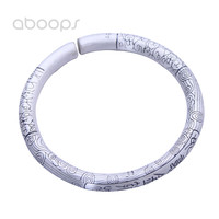 7mm Heavy Plain Solid 999 Sterling Silver Chinese Myth Monkey King Bar Open Bangle with Auspicious Clouds for Men Women