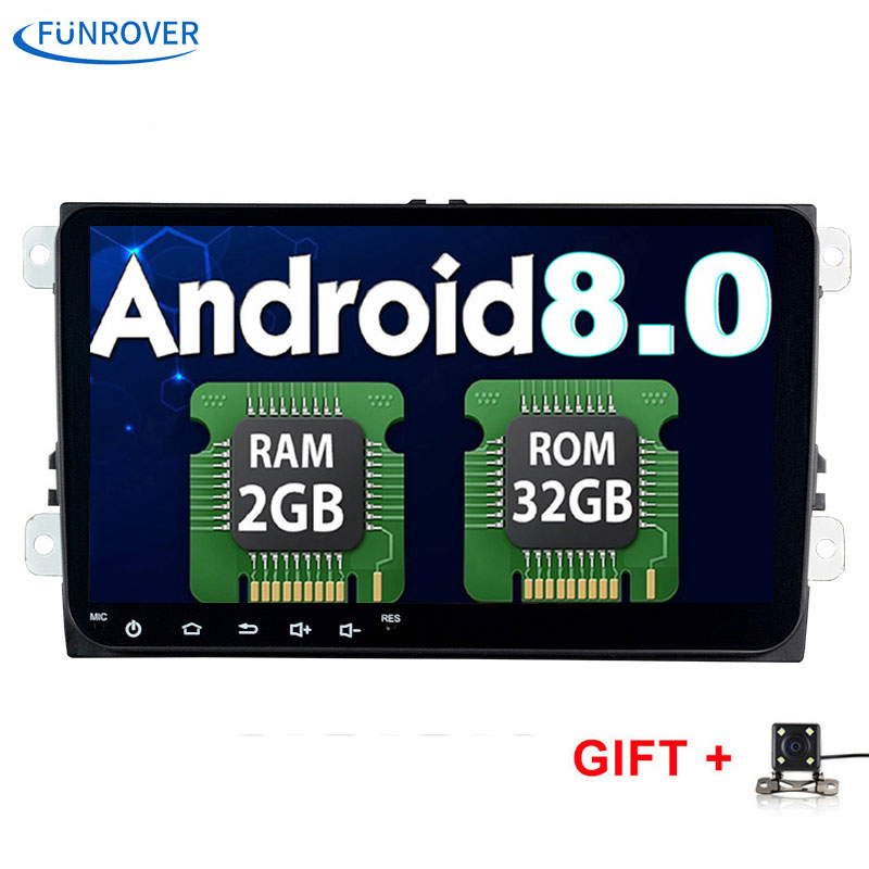 FUNROVER 2 din 9 inch car DVD radio Gps Stereo PC Android 8.0 2G+32G in dash for vw B6 B5 B7 Passat Golf Polo Jetta Eos Tiguan