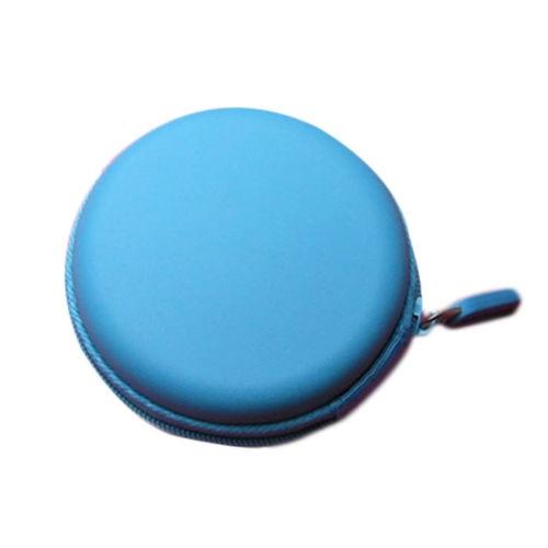 Round Portable Mini Hard Storage Case Bag Box for Earphone Headphone SD TF Cards Sky blue