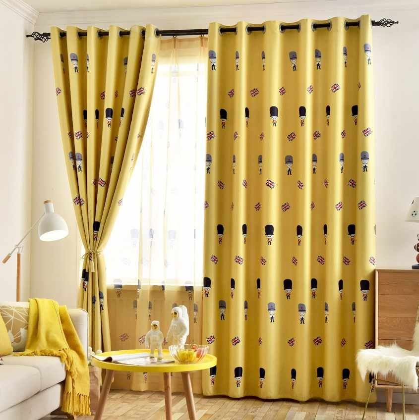 English Cartoon Curtains Children's Room Curtains Boy Bedroom Curtains Mediterranean Wind Shading Floating Window Soldiers