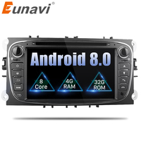 Eunavi 2 Din 7Android 8.0 Octa Core Car DVD Player DAB+WiFi 4G Canbus Online Maps GPS Navigator for Ford Focus II Mondeo S Max