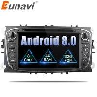Eunavi 2 Din 7 Android 8,0 Octa Core dvd плеер DAB + WiFi 4G Canbus интернет Карты gps навигатор для Ford Focus II Mondeo S Max