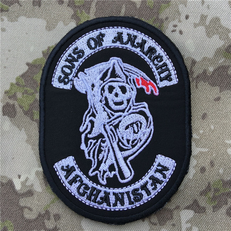 Takerlama Sons of Anarchy Halloween Jacket Back Embroidery the Tactical Military Patches Badges for clothes clothing HOOK/LOOP