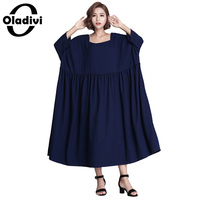 Oladivi Women Elegant Dress 2017 Autumn New Square Neck Casual Loose Solid Maxi Long Dresses Vestido