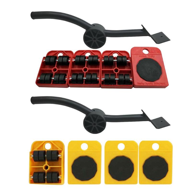 Furniture Mover Tool Set Heavy Furniture Lifter Mover Transport Lift Move Slides Trolley 4 Wheeled Mover Roller+1 Pry Stick|Hand Tool Sets|   - AliExpress