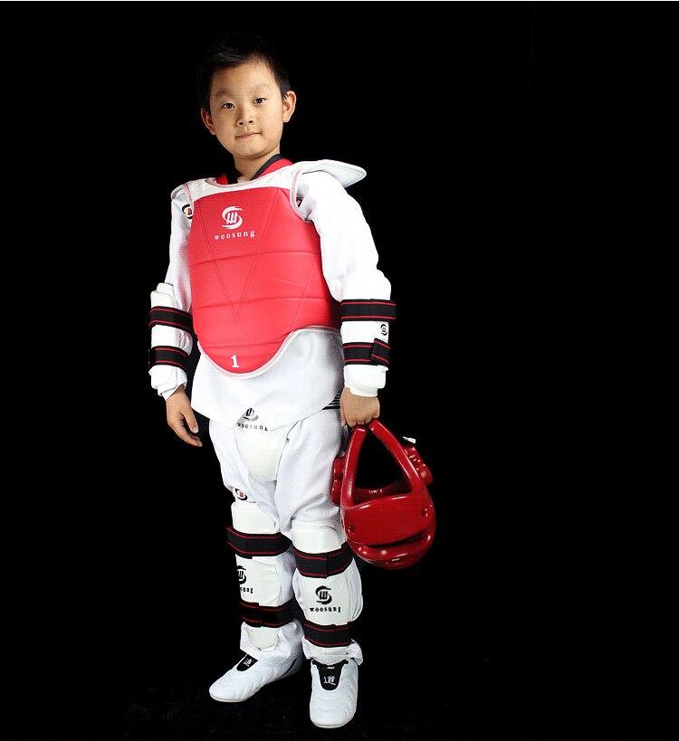 Woosung взрослых детей тхэквондо протектор утолщение тхэквондо WTF защиты 5 шт. грудь шлем Shinguard Armguard Защита паха