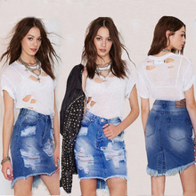 Trendy Womens Ladies Frayed Stretch Bag Hip Zipper Button  Sexy Casual Slim Denim Skirt High Waist Jean Denim Skirt цена 2017