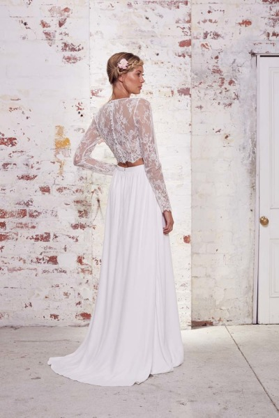 2017 Hot Sale Two Pieces Crop Top Bohemian Wedding Dress Chiffon Ruched Beach Bridal Gowns Spring Lace Long Sleeves In Dresses From