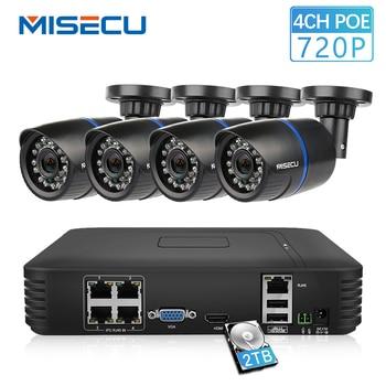 MISECU 4CH POE 1080 P NVR 4 шт. 1.0mp 15 в PoE IP камера P2P HDMI 1080 CCTV системы наблюдения ИК Ночное Видение out/Крытый ПК и телефон