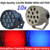 10xLot High Quality 30W Flat LED Par Can 12x3W RGBW DJ Disco DMX Stage Lights Laser