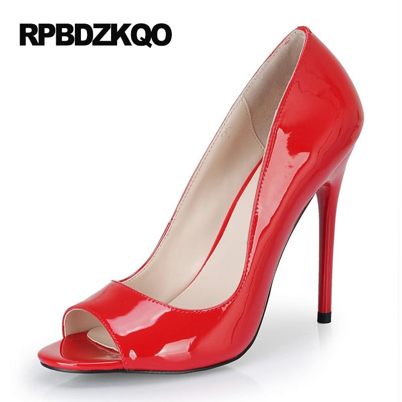 Frauen Crossdresser Mund 36Off 44 Zoll High Große 43 Peep 5 Größe 11 Heels 12 Rot Fisch Patent Schuhe Toe Fetisch Pumps Ultra Us47 Cm weiß 0wkNOX8nP
