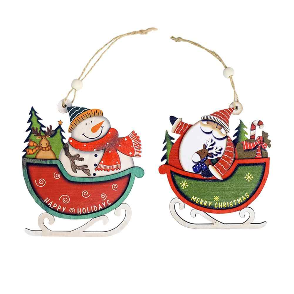 Christmas Sleigh Pendant Christmas Tree Innovative Painted Snowman Santa Claus Pendant Santa Claus Ornament Pendant Window Tag