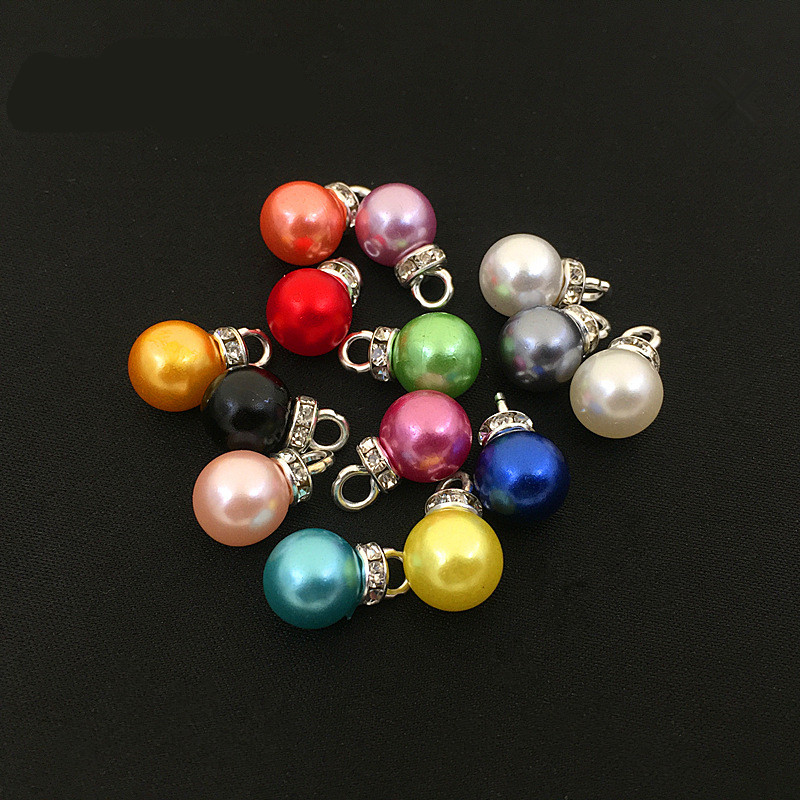 30pc 10mm Beads Round Rhinestone ABS Imitation Pearls Charm Pendant For Earring Bracelet Choker Necklace DIY Jewelry Making Z767