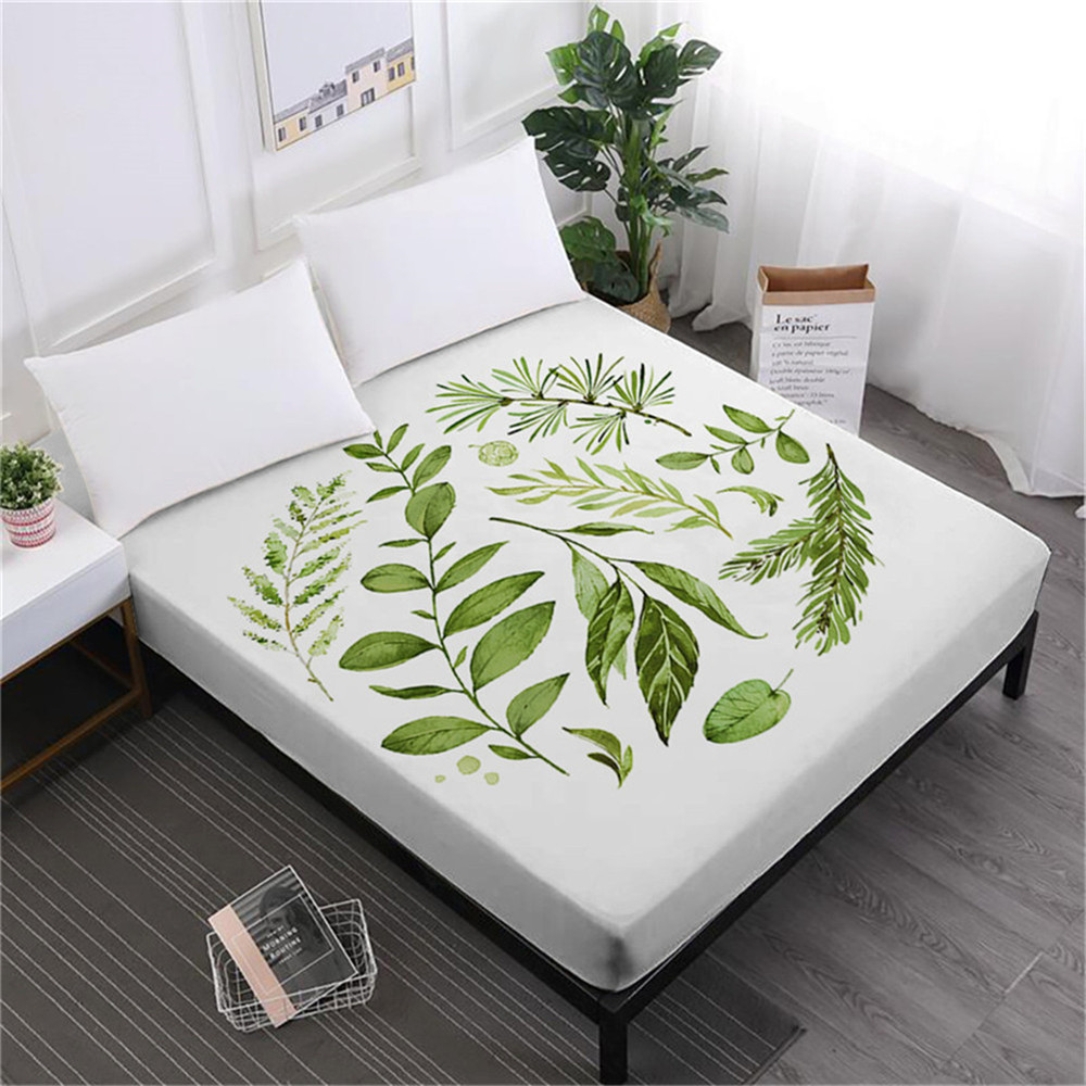 Green Leaves Print Bed Sheet Plant Print Fitted Sheet Deep Pocket Mattress  Cover Elastic Band Soft