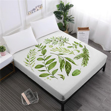Green Leaves Print Bed Sheet Plant Print Fitted Sheet Deep Pocket Mattress Cover Elastic Band Soft Bedclothes D25 allover sanding plant print sheet set