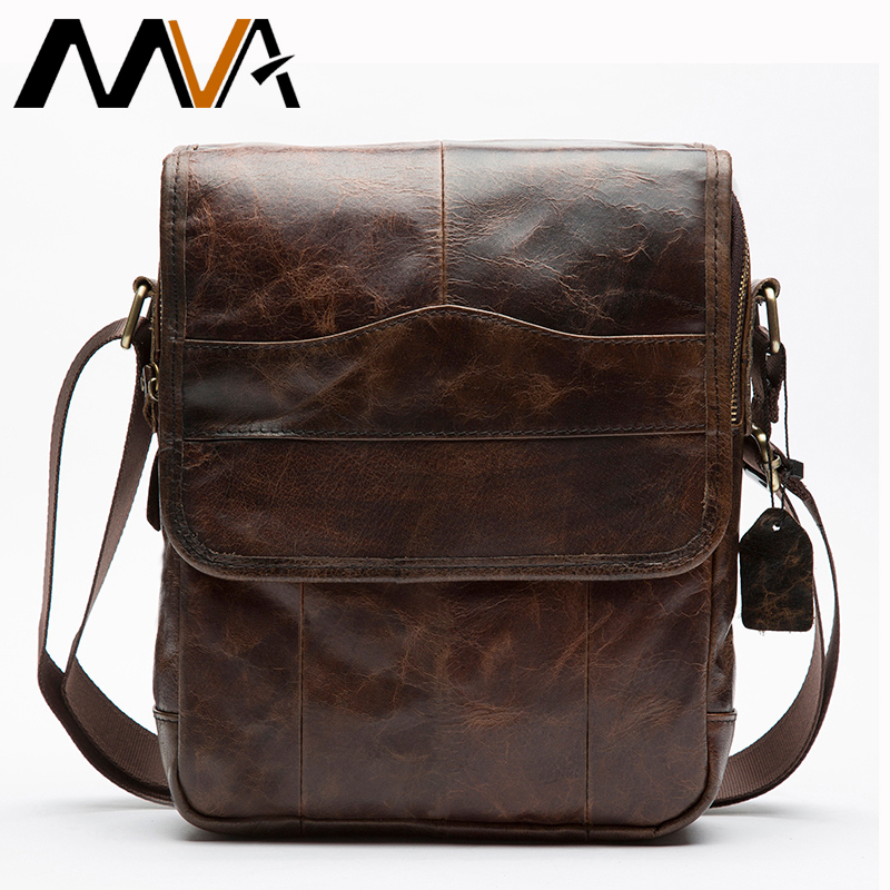 MVA Men's Genuine Leather Bag For Men Vintage Shoulder Bags Male Messenger Bag Man Leather Ipad Flap Men's Bags 1121