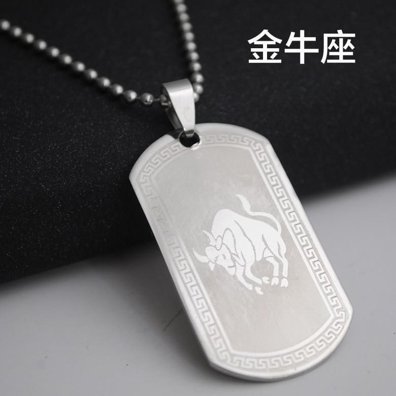 Taurus          stainless steel 12 twelve constellation logo necklace 12 Zodiac symbol amulet necklace Korean lucky 12 constellation symbol necklace