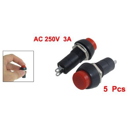 MYLB-SODIAL(R) 5 Pcs AC 250V 3A SPST On/Off Self Locking Push Button Switch mylb sodial r 2 pcs on off 2 terminal spst black round rocker switch