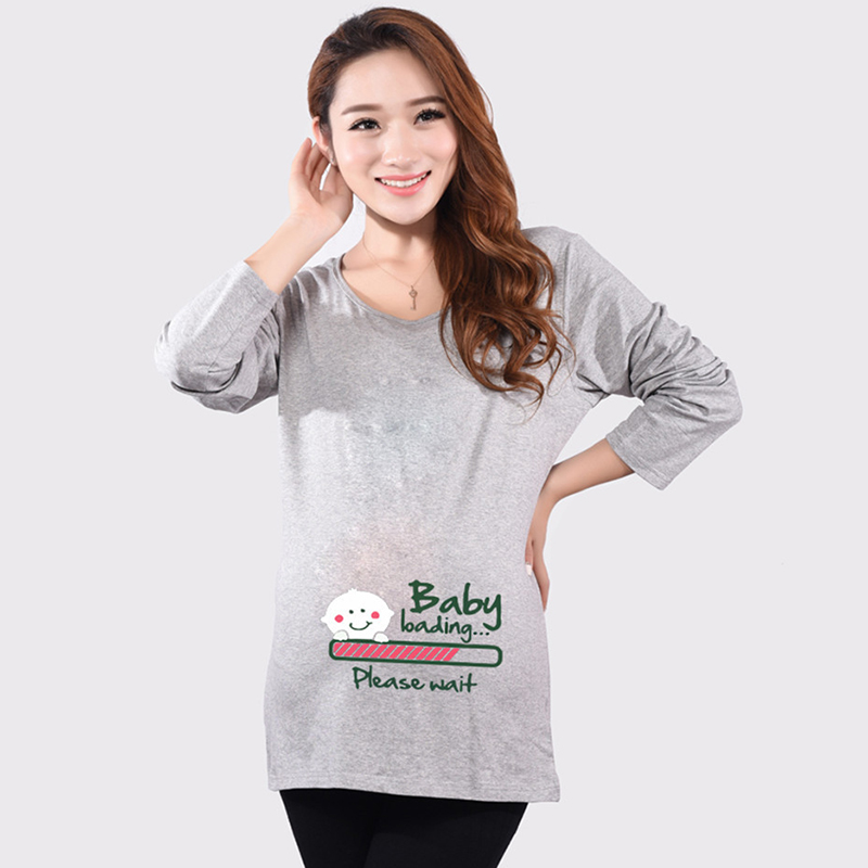 68c41e91 Hot pregnant t-shirts baby loading print funny maternity tops long sleeve  tees cotton women's t shirts pregnancy clothes casual | Babydreams