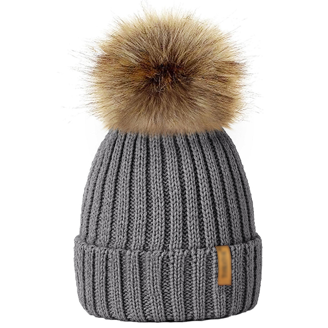 d5f2f2fd60f 2018 New Kids 4 12 Years Raccoon Fur Ball Children Winter Hat Knitted Pom  Pom Cap Baby Girls Boys Unisex Beanie Hat Accessories-in Hats   Caps from  Mother ...